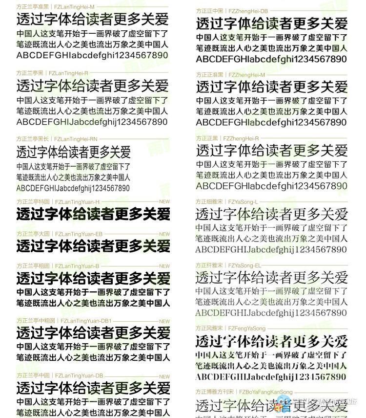 ps必备精选字体库素材 设计师美工中英文字体包 ps/cdr/ai方正兰亭叶