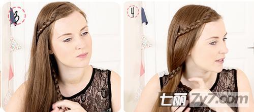 甜美女生发型设计 简单编发松散侧马尾扎发