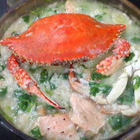螃蟹三文鱼海鲜粥