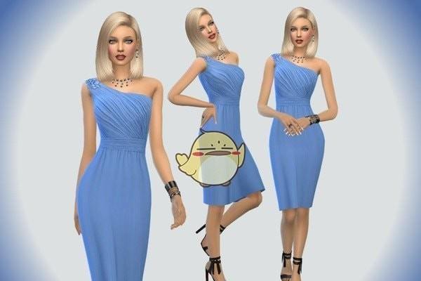 模拟人生4蓝色宽松晚礼服MOD下载